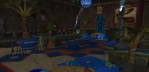 Dla swoich rozywkowych gości Zefir przygotował kącik, gdzie alkohol płynie non-stop, a na znużonych zabawą czekają przytulne poduszki.