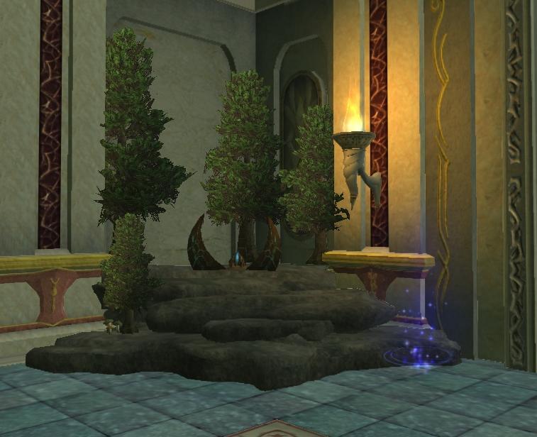Po prawej stronie, wśród drzew, znajduje się portal do Overrealm oraz portal, który zabierze nas do naszych własnych domów.