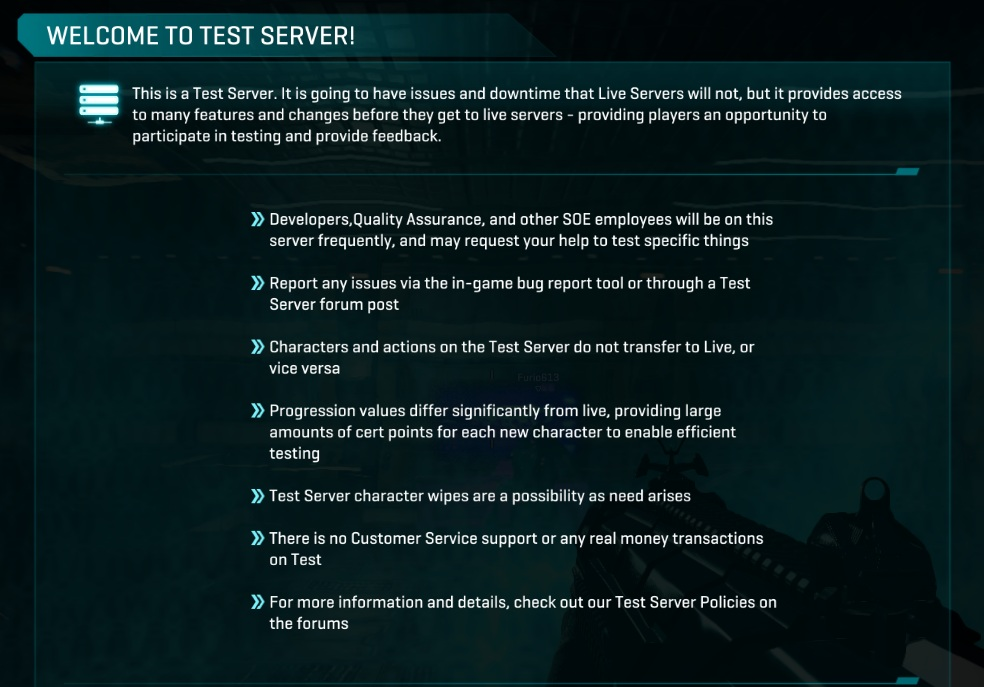 welcome to test server planetside 2